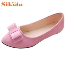 Women Ballet Top Quality Flat Shoes New Hot Work Flats Bow Tie Slip Shoes Boat Comfortable Shoes Plano 17Mar15