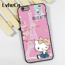 LvheCn phone case cover fit for iPhone 4 4s 5 5s 5c SE 6 6s 7 8 plus X ipod touch 4 5 6 Hello Kitty Paris Love Cute Pink(China)