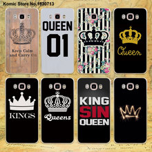 Luxury King Queen Couple crown design clear transparent hard Case for Samsung galaxy J7 2016 J5(2017 US) J3 J2 J1 2016