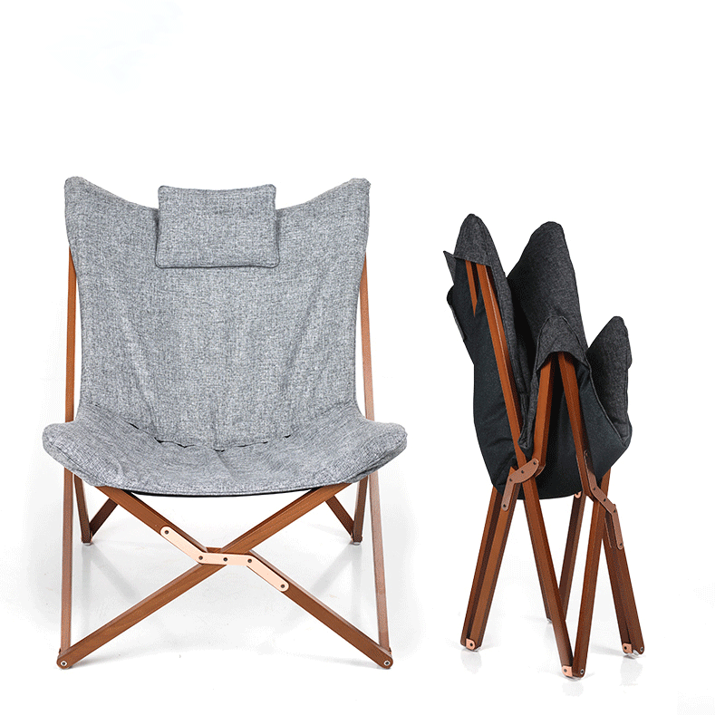 Folding Butterfly Chair Grey Fabric Cushion Upholstery Living Room  Furniture Modern Butterfly Lounge Chair Frame Solid