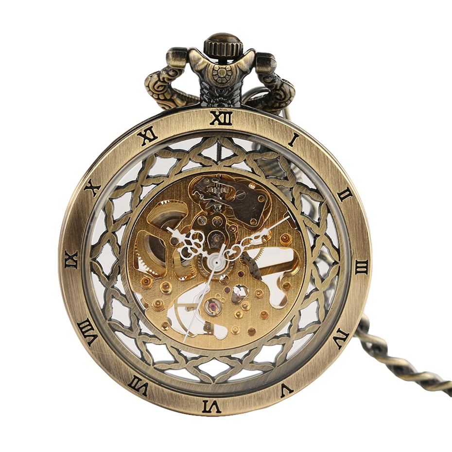 Top Gifts Luxury Transparent Skeleton Hollow Mechanical Watch Retro Hand Winding Analog Pocket Watch for Men Women Antique Style (2)