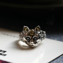 Chiang Mai, Thailand Thai silver jewelry handmade silver 925 sterling silver open-end ring ,cat(China)