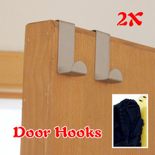 2Pcs stainless steel Door Hooks Hanging Hanger Holder for Hanging Coat Cloth food in kitchenStrong W(China)