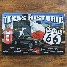 "xsy06 New arrival "" route 66 road and car  "" vintage metal tin signs painting home decor wall art craft  bar pub 20X30cm"