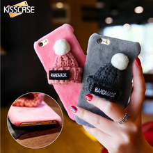 KISSCASE Girly Christmas Hat Fur Plush Case For iPhone 7 7 Plus For iPhone 6 6S Plus Hard Plastic Phone Back Cover Accessories