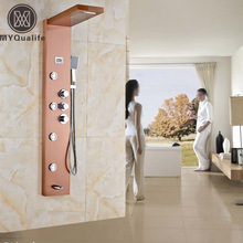 Rose Golden Waterfall Rain Thermostatic Mixers Shower Panel Shower Column Jets Tub Spout Shower Tap
