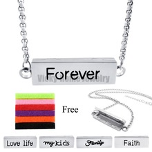 Chains as Gift!! 35MM*10MM Silver Forever Stainless Steel Essential Oils Aromatherapy Locket Perfume Diffuser Necklace Bracelet(China)