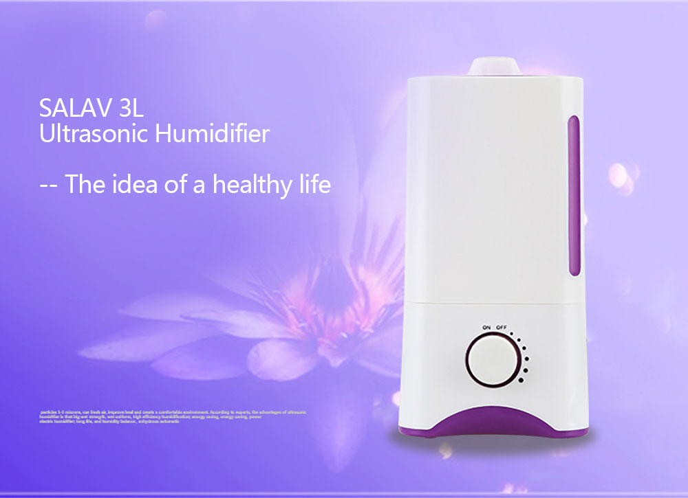 SALAV 3L Humidifier Ultrasonic Air Purifier Aroma Diffuser Double Nozzles Aromatherapy Mist Maker Essential Oil Diffuse XY-06<br>