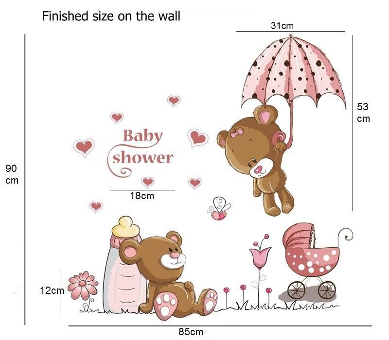 HTB1JujCeKLM8KJjSZFqq6y7.FXan - Pink Cartoon Cat Rabbit Flower Wall Sticker For Baby Girls Kids Rooms
