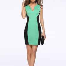 Vogue Elegant Green Deep V Bodycon Women Summer Dress 2017 Ladies Bandage Slimming Party Dresses Tank Vestidos Club Wear Outfits(China)