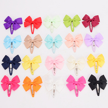 "30pcs/lot 2.5"" Solid Ribbon Bows elastic hair clip Barrettes kids Hairpins bow for little girl hair accessories headwear(China)"