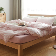 Knitted Pure 100% Cotton Stripe Duvet Cover Set High Quality Home Textile Bedding Sets Queen / King Size(China)