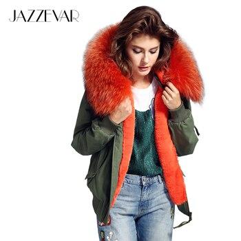 2016 nuevo de alta moda de la calle de las mujeres gusano bombardero chaqueta de invierno femenina abrigo con capucha grande de piel de mapache prendas de vestir exteriores de buena calidad