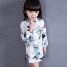 Traditional Chinese Garments Girls Qipao Cheongsam Summer Spring 2017 Long Sleeve Dress Children Clothing Suit National Perform