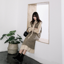 GO FURTHER 2017 Autumn and winter casual wear rabbit cashmere sweater vest female loose long knit jacket(China)