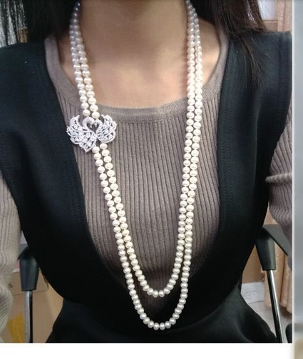 "free shipping  double strands 9-10mm  round white pearl necklace 24""26"""