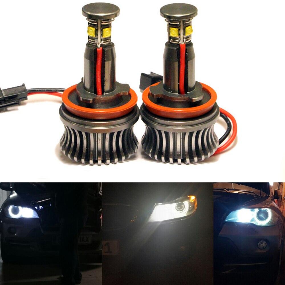 1Set H8 Angel Eyes light 20W Angel Eyes Front Headlight Kit Led H8 Fog Lamp for for BMW X5 E70 X6 E71 E90 E91 E92 M3 E60<br>