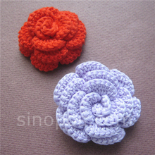 Handcraft Crochet Rose 55mm, quilting scrapbook DIY 3D cotton knitting flower sew-on headwear petal wedding valentine decoration(China)