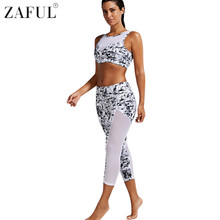 ZAFUL Women Yoga Sets Fitness Sports Padded Bra and Mesh Panel Sheer Yoga Leggings Set Gym Workout Sports Wear Running Clothing