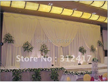 Hotsale white two layer wedding backdrop curtain with swag ,backdrop wedding decoration,wedding stage backdrop