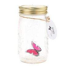 Romantic Glass LED Lamp Butterfly Jar Valentine Children Gift Decoration Rose red(China)