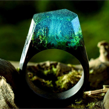 ERLUER 2017 Resin Secret Wood Rings Women Magic Forest Wooden Ring Men Jewelry Fashion Deep Blue Rectangle Gift Vintage Bague