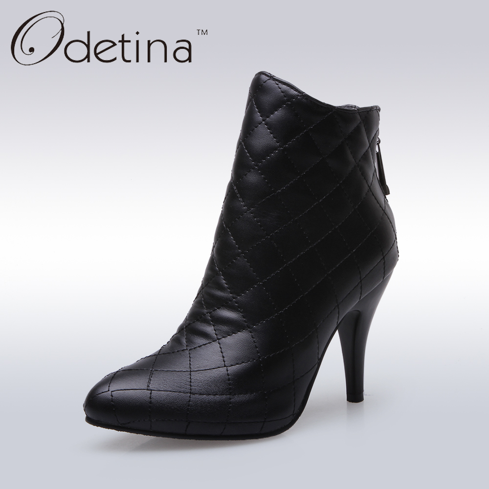 Odetina 2016 New Handmade Large Size Womens Fashion Plaid Thin Heel Ankle Boots Zip Up Pointed Toe Booties with Zipper In Back<br>