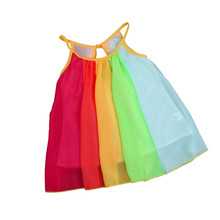 Fashion New Girls' dress Summer Toddler Baby Girl Sleeveless Gallus Princess Dress Chiffon Tutu Rainbow Ruched Solid Dresses P5