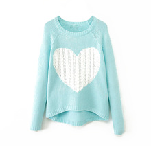 IMC Women's Heart Pattern Pullover neck Long Sleeve Knitwear Stylish Casual Knitted Sweater (Blue,XL)