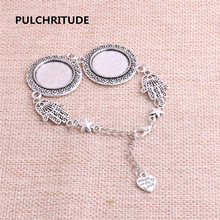 PULCHRITUDE 3pcs 22cm Alloy Antique Silver Chain Bracelet Hand Charm Round Cabochon base Setting Fit 20mm Women Z0021