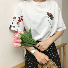 Cute summer T-shirt personality all-match loose T shirt embroidered flowers of female students tops kawaii fashion chic tee girl
