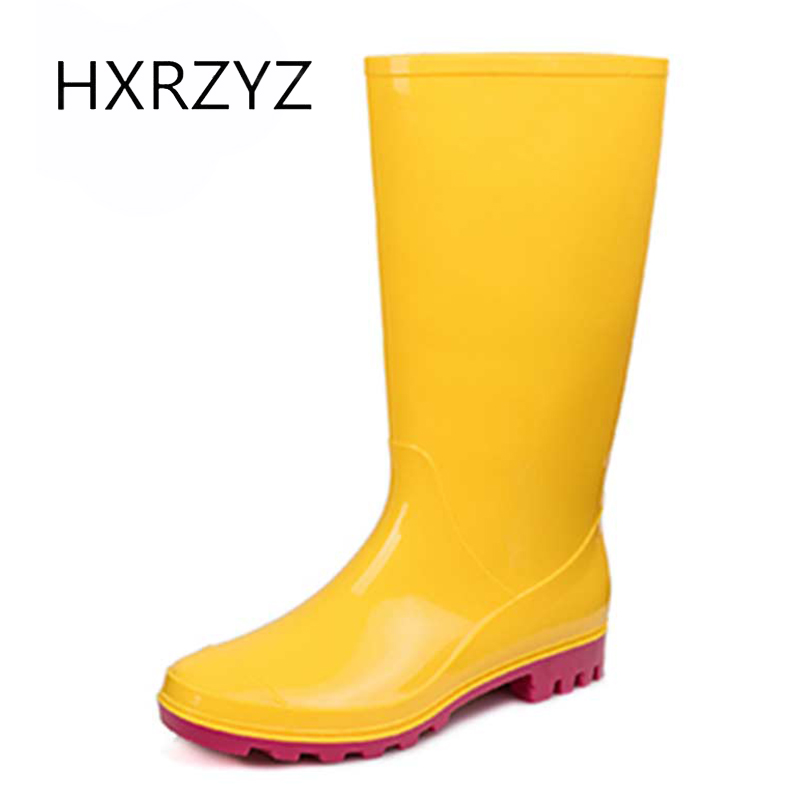 HXRZYZ female knee high rubber boots women rain boots spring/autumn new fashion PVC candy Slip-Resistant waterproof shoes women<br>