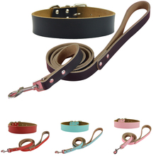 Global Baby New Strong and Suitable Cow Leather One Step Pet Dog Big Collar and Leashes Sets(China)