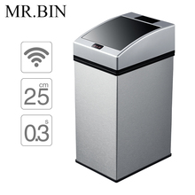 MR.BIN Smart Sensor Trash Can Square Automatic Waste Bin Stainless Steel Induction Dustbin Environmentally Plastic WB-SS003 7L