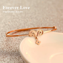 Little Sheeps Fortunate Bangles 2015 New Arrival Titanium With Rose Gold Color Mosaic Gold Fine Jewelry Free Shipping Not Fade(China)