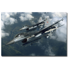 NICOLESHENTING F-16 Fighting Falcon Aircraft Military Art Silk Poster 13x20 24x36 inches Landscape Pictures 006