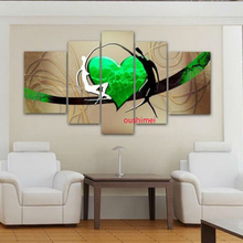 Hand-painted 5p Wall Art Abstract Lover Dancer Oil Painting On Canvas Home Decor Green Heart Picture For Room Decor