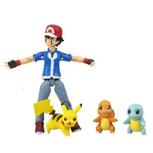 Cartoon Pocket Monster Figma 052 Ash Ketchum/ Pikachu/Squirtle/Charmander PVC Action Figure Collectible Model Toy MV097023 - InToyCity store