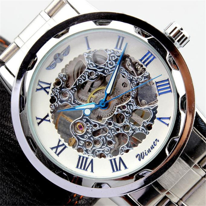 Supper Fun Hot relogio masculino Clock Mens Watch Skeleton Dial Stainless Steel Strap Hand-Wind Mechanical Watches Feb06<br><br>Aliexpress