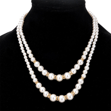 Stylish Women Necklace Simulated Pearl Crystal Double Layer Silver Gold Color Chain Ball Style Gift Wholesale