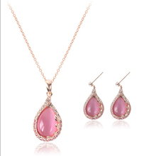 Austrian Crystal gold womens jewerly sets water drop pink cat's eye Jewelry sets of african jewellery set wedding accessories