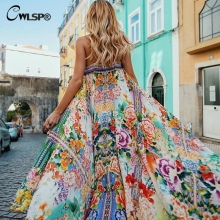 Buy CWLSP Shirred floral Summer Chiffon maxi Dress Women Sexy Long Beach dresses Strap Holiday Vestido robe femme QL3652 for $15.99 in AliExpress store