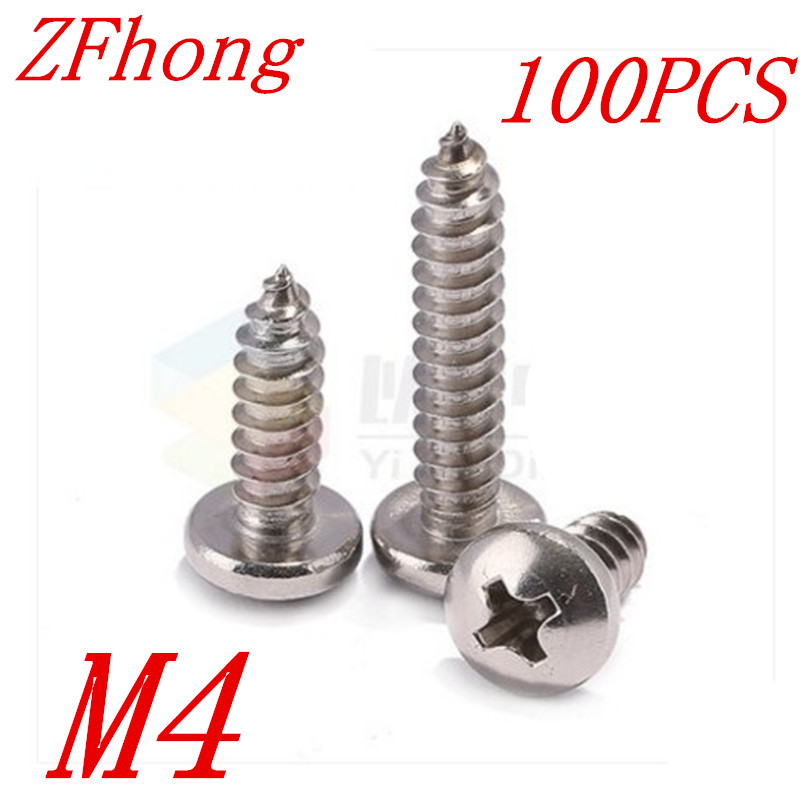 100PCS M4*6/8/10/12/14/16/20/25/30 3mm stainless steel 304 cross recessed phillips round pan head self tapping screw<br><br>Aliexpress
