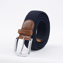 Extra Long Dark blue Elastic Web Belt Mens Stretch Belt Metal Buckle Woven Braid Belts for Big Men