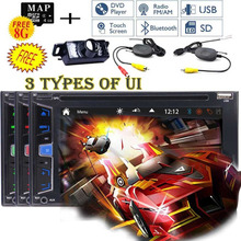 Wireless Camera+automotive 6.2'' Car GPS DVD Player Autoradio Bluetooth 2DIN Headunit USB SD AUX Multimedia FM AM Steering wheel(China)