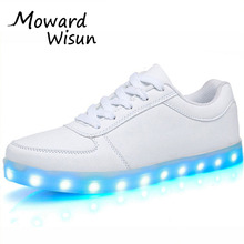 Fashion USB LED Light Up Shoes Glowing Shoes Basket Femme Trainers Feminino Luminous Sneakers with Light Soles LED Slippers 35(China)