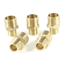 5 Pcs 1/4 inch PT to 1/8 inch PT Male Thread Brass Straight Pipe Coupling Fitting
