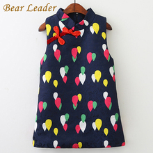 Bear Leader Girls Dress 2017 New Autumn Brand Girls Clothes Sleeveless Rain Dot Chinese Style Cheongsam Girls Children Clothing