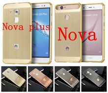 "For Huawei Nova 5.0"" / Nova Plus 5.5"" Luxury Aluminum Metal Brushed Bumper Frame Phone Case Gold Plating Hybird PC Back Cover"