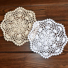 12 pcs Nice Happy flower Crochet pattern round doilies, 100% handmade table mats coasters, lace doilies cotton 20CM ROUND